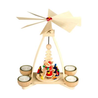 Teelichtpyramide mit Weihnachtsmann natur