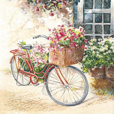 Tischservietten Blumen Fahrrad