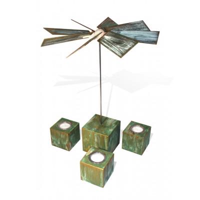 "Moderne Würfelpyramide Alea ""Design Kupfer oxidiert"""