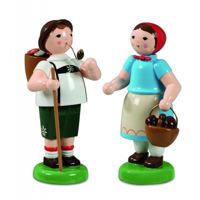 Bauernpaar mit Stab und Korb