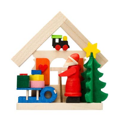 Baumbehang Haus Weihnachtsmann mit Schlitten