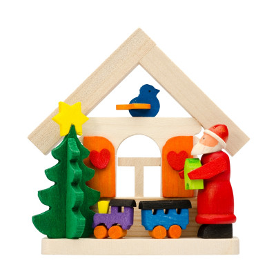 Baumbehang Haus Weihnachtsmann mit Eisenbahn