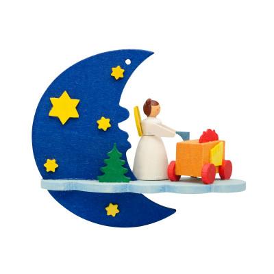 Baumbehang Mond mit Engel und Leierkasten