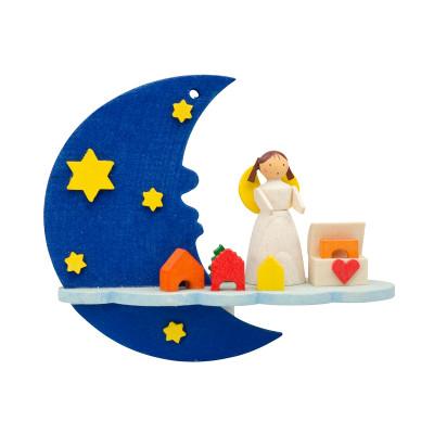 Baumbehang Mond mit Engel und Spielzeugkiste