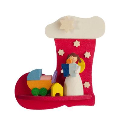 Baumbehang Nikolausstiefel mit Engel mit Puppenwagen
