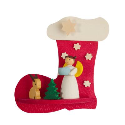 Baumbehang Nikolausstiefel mit Engel mit Hase