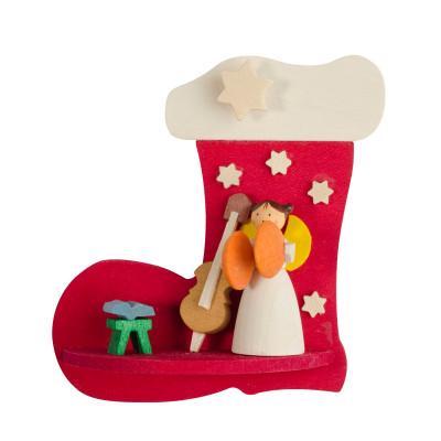 Baumbehang Nikolausstiefel mit Engel mit Instrument