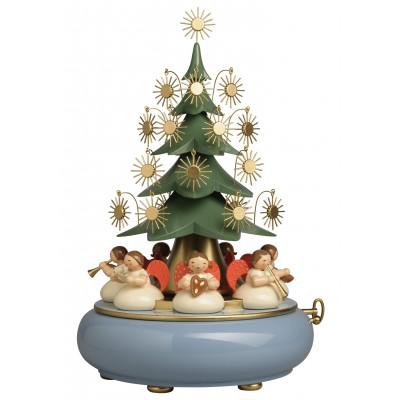Spieldose mit unter dem Weihnachtsbaum sitzenden Engeln O du fröhliche