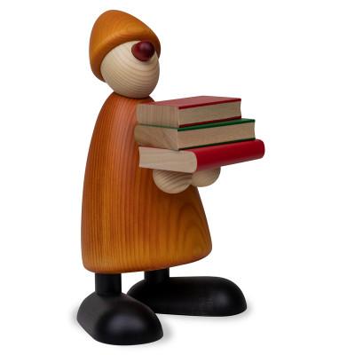 Gratulant Billy mit Büchern, gelb, 17 cm