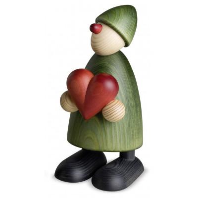 Gratulant Theo mit Herz, grün, 17 cm