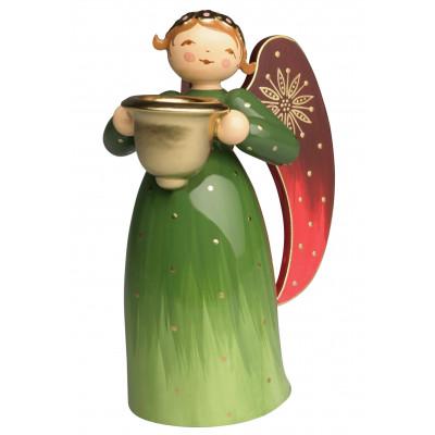 Engel mit Lichtnapf reich bemalt, grün