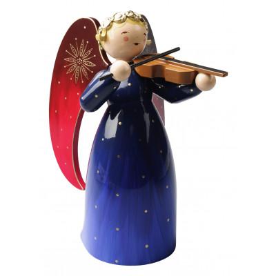 Engel mit Violine reich bemalt, blau, groß