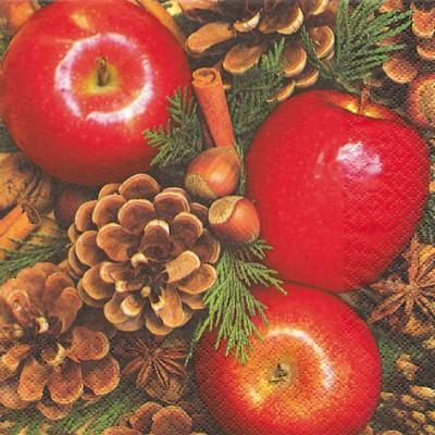 Tischservietten Äpfel mit Nüssen