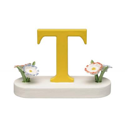 Buchstabe T mit Blumen