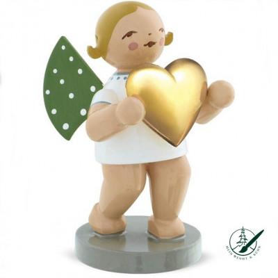 Liebesbote Engel mit vergoldetem Herz, Ihr Einzelstück