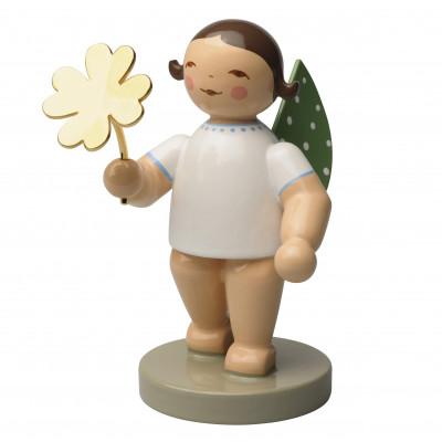 Glücksbote Engel mit vergoldetem Kleeblatt, Ihr Einzelstück