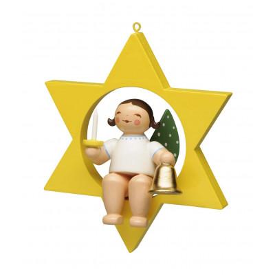 Engel mit Glocke und Kerze im Stern