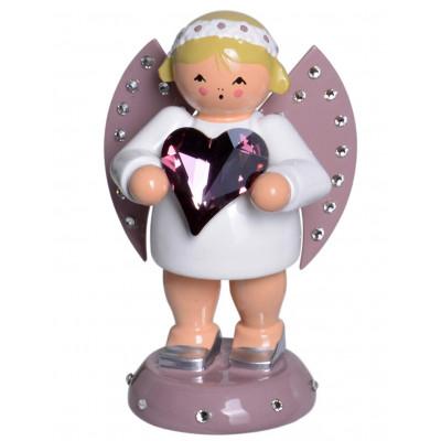 Engel Glücksbote mit Swarovski-Herz und Lichtsockel, limitiert