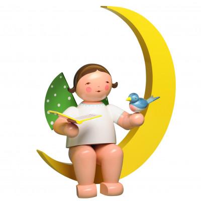 Engel mit Liederbuch und Vogel im Mond, gross