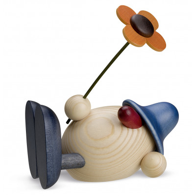 Eierkopf Oskar mit Blume liegend, blau