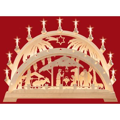Schwibbogen Christigeburt mit Palme mit LED-Schlauch