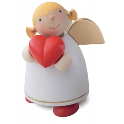 Schutzengel mit Herz, weiß, 8 cm