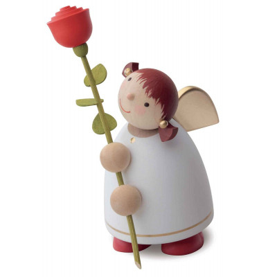 Schutzengel mit Rose, weiß, 8 cm