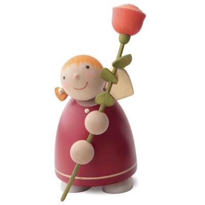 Schutzengel mit Rose, rot, 8 cm