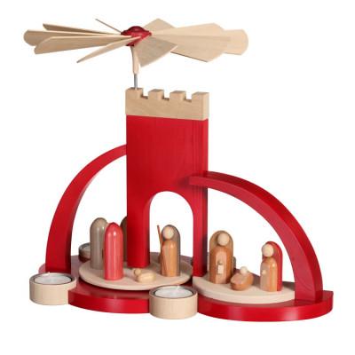 Moderne Teelichtpyramide Christi Geburt rot