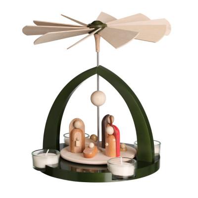 Moderne Teelichtpyramide Geburt Christus grün