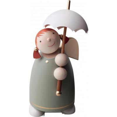 Schutzengel mit Schirm Grün, 8 cm