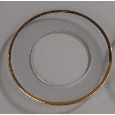 Glasmanschette mit Goldrand für Stumpenkerzen, 1 Stück