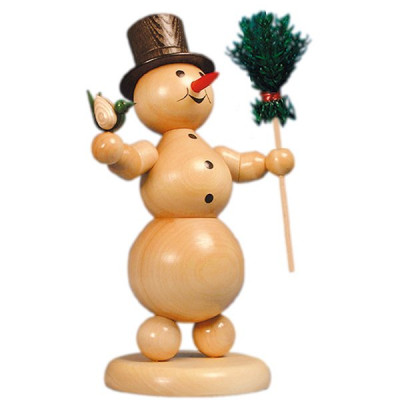 Schneemann mit Besen und Vogel