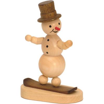 Schneemann auf Snowboard