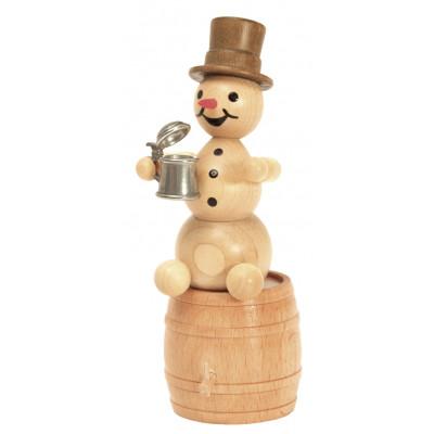 Schneemann mit Krug auf Fass