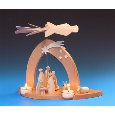 Pyramide Christi Geburt mit den 3 Weisen natur