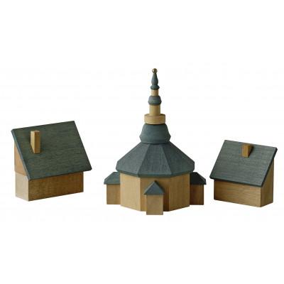Seiffener Kirche mit Häusern