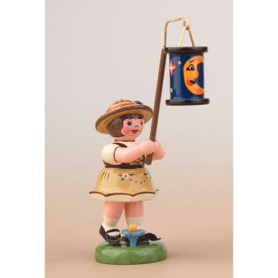 Lampionkind Mädchen mit blauen Mondlampion