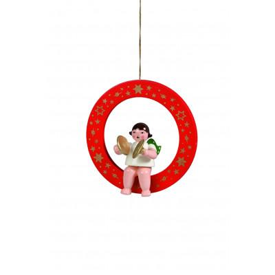 Engel mit Becken im roten Ring