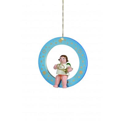 Engel mit Waldhorn im blauen Ring