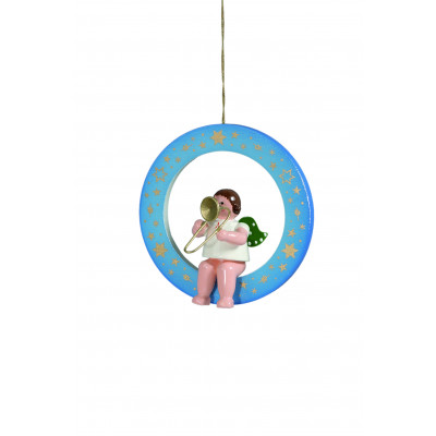 Engel mit Posaune im blauen Ring