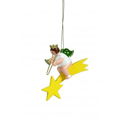 Engel mit Posaune auf Sternschnuppe