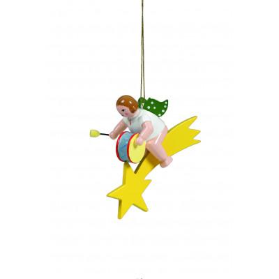 Engel mit grosser Trommel auf Sternschnuppe