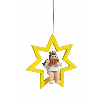 Engel mit Panflöte im Stern