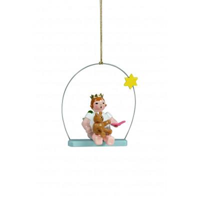 Engel mit Teddy auf Himmelsschaukel