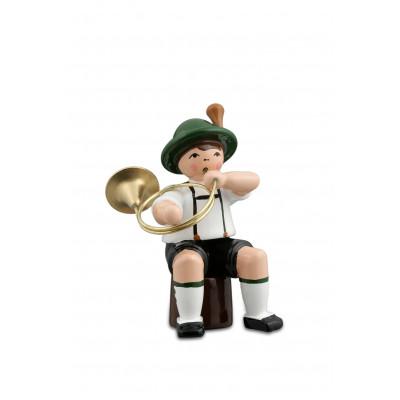 Musikant sitzend mit Parforcehorn
