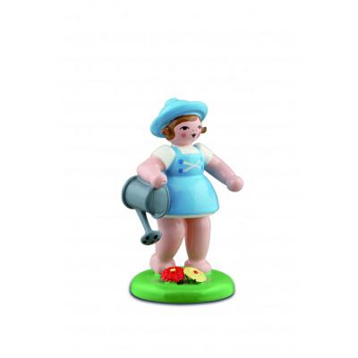 Gärtnermädchen mit Gießkanne, blau