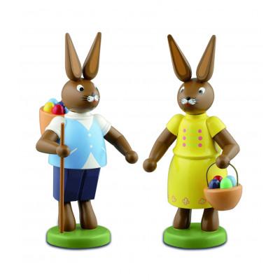 Osterhasenpaar mit Eierkorb