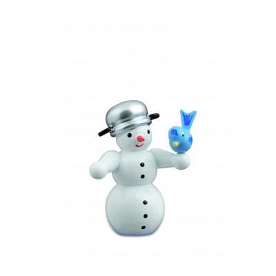 Schneemann mit Vogel