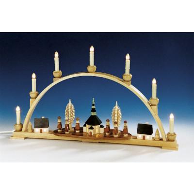 Schwibbogen mit Motiv Seiffener Kirche und Innenbeleuchtung